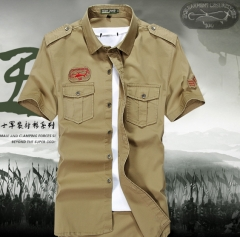 Short-sleeved youth leisure Slim cotton shirt khaki m