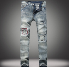 Nostalgic men 's jeans patch patch Slim small straight jeans as the picture 28