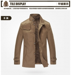 The new men 's windbreaker men stand - collar long - term self - cultivation business casual jacket khaki m