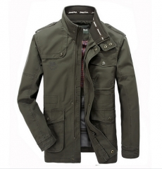 Spring and Autumn thin section of the men 's jacket jacket Men' s casual multi - pocket long jacket armygreen m