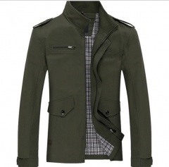 Men 's printing Slim business casual jacket Jeep men' s cotton washed windbreaker jacket armygreen xxxl