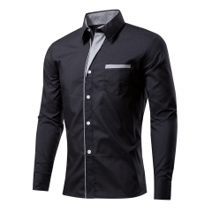 Striped Men 's Shirt Men' s Shirt Long Sleeve Solid Color Slim Shirt black m
