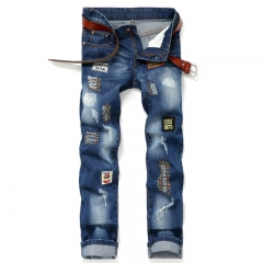 The new badge jeans hole patch men 's jeans Straight Slim men's trousers as the picture 28