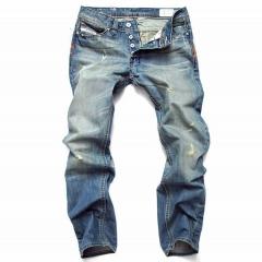 Straight men 's jeans tide men' s big yards retro pants punk hole jeans as the picture 32