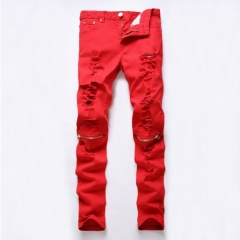 The new men 's hole zipper knee pure cut rotten casual pants Slim small feet stretch pants red 29