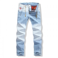 Hot tide brand jeans men and straight European version of the worn men 's jeans blue 30
