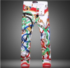 Men 's flower trousers Slim trousers tide pants trousers belt buckle printing casual pants as the picture 29