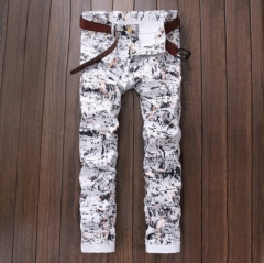 The new men 's elastic stretch PU printing leisure pants fashion influx of pants as the picture 29
