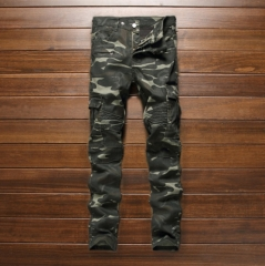 The new tide brand military wind tight pockets more zipper camouflage stitching denim pants feet as the picture 30