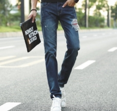 Jeans tidal wave of men Slim straight jeans Korean men small M printing tide pants as the picture 28