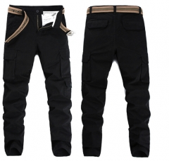 Men 's small straight Slim multi - pocket trousers uniform men' s fashion stretch trousers black 28
