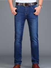 Men 's jeans business straight jeans men Slim stretch fashion men' s trousers blue 28