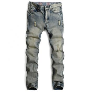 Men 's jeans straight hole tide Slim jeans men nostalgic pants as the picture 32