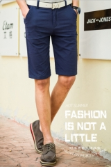 Summer Men 's casual pants men' s slim men 's cotton - heeled pants straight fashion elastic pants navy 28
