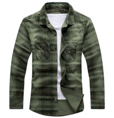 Cotton plaid shirt men youth British uniform long - sleeved shirt armygreen m