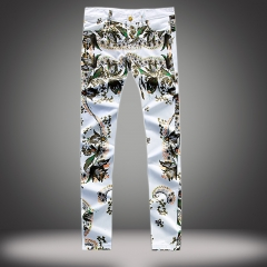 White printed casual pants male stretch Slim small straight tide casual pants as the picture 29