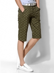 Casual pants male pants printed cotton elastic pants straight Slim pants wine 31