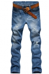 Fashion jeans male Korean version of Slim denim trousers male straight young men 's trousers blue 28