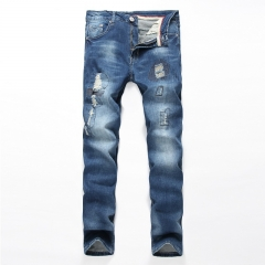 Cotton stretch Slim straight straight men's jeans do old hole jeans as the picture 28