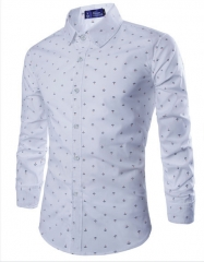 "Spring and Autumn Men ""s long-sleeved shirt fashion wild men's leisure printing long-sleeved shirt white m"