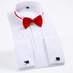 Men 's long - sleeved solid color shirt fold swallows collar dress shirts French cufflinks white m