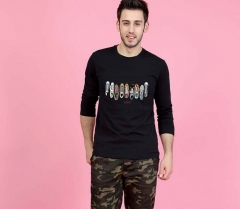 Men 's cotton T - shirt cartoon round neck t - shirt spring and autumn long - sleeved T - shirt black m