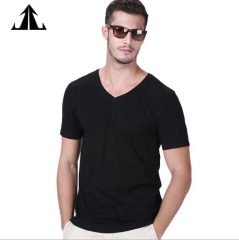 Jack Claude V Collar Men's Short Sleeve T-Shirt Men's Black Youth Squares Pure Color Bottom Shirt black s/165cm