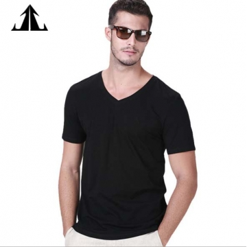 Jack Claude V Collar Men's Short Sleeve T-Shirt Men's Black Youth Squares Pure Color Bottom Shirt black s/165cm