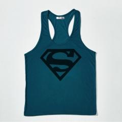 Superman printing fitness vest summer sweat loose large size sports vest deep blue xxxl