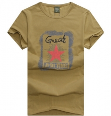 British men loose short-sleeved T-shirt round neck personality red star print T-shirt khaki m