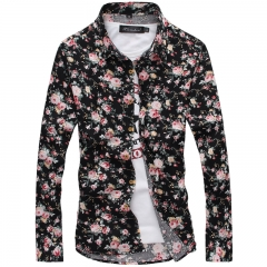 Fashion Floral Shirt Korean Slim Stylist Shirt Blouse #1 m