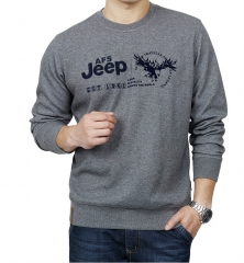 Long Sleeve Cotton Round Collar Sports Bottom Shirt Loose casual sweater Men 's T - shirt gray l