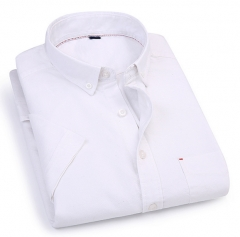 Spring and summer men short sleeve shirt cotton Korean casual lapel men casual shirt white m