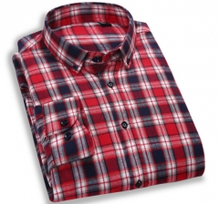 New comfortable wash printed casual lattice shirt Men's shirt red m