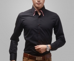 Double collar shirt men's high-grade light luxury business men's long-sleeved shirt without hot black m
