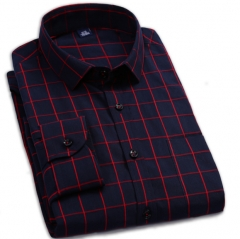 Business casual men trendy shirt men long sleeves cotton new youth plaid shirt red m