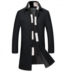 The new men's woolen coat winter plus cotton thicken men's windbreaker black m
