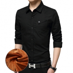 The new cashmere men 's long - sleeved shirt military Slim cotton men' s shirt leisure and warm black m