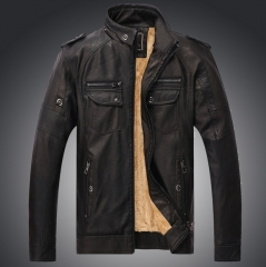 PU leather clothing autumn and winter male leather plus velvet high-grade washed leather black m