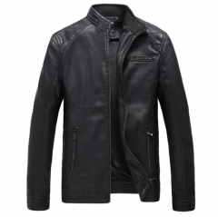 Autumn and winter new cashmere men leather PU leather clothing black l