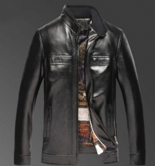 Washed leather collar collar leather jacket in the elderly pu male leather jacket black m