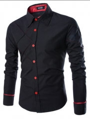 New men's Plaid shirt  British fashion long sleeved shirts black m