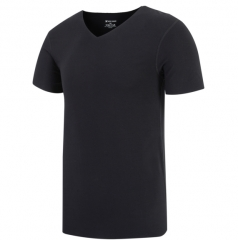 Men's T-shirt V collar high-elastic semi-sleeve plain coloured tunic black l