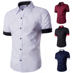 Summer short sleeved shirt men's slim Plaid walk line design casual shirt white m