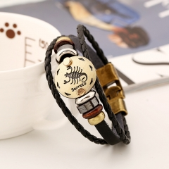 Retro Leather Bracelet Men's Alloy Braided Bracelet as the picture Aries