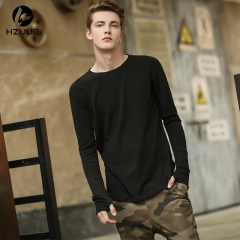 Sleeve with gloves Solid color cotton   Long-sleeved men's t-shirt black s