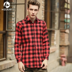 New plaid shirt side zip Cotton lapel long-sleeved men's shirt red m