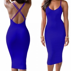 Sling Halter cross V collar hip pack sexy female dress Dark blue S