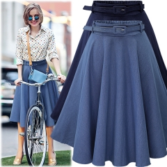Summer new denim skirt to send belt 8413 dark blue free size
