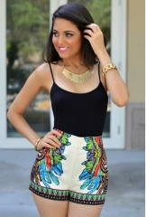Women's hot style sexy print shitty belt conjoined shorts CMS9586 as picture s
